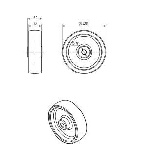 Колесо к огнетушителю ОУ (пластиковый обод), диаметр 125 мм.