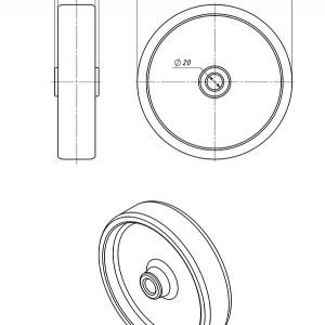 Колесо к огнетушителю ОП-100, диаметр 200 мм.