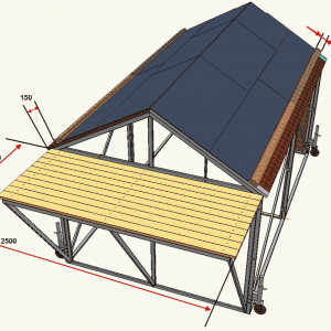 Домик спасательный спортивный для соревнований по пожарно-прикладному спорту (элементы крыши – алюминиевый проф.настил)